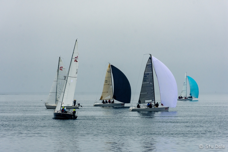 Racing sailboats off Cattle Point in Victoria, B.C.